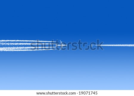 Colliding airplanes in a blue sky - stock photo