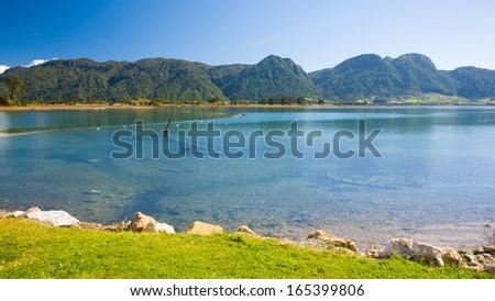 Collingwood estuary South Island New Zealand - stock photo