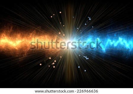 collision of two energies, black background - stock photo