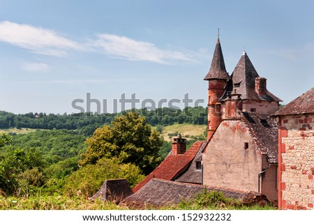 Collonges la Rouge, French castle. - stock photo