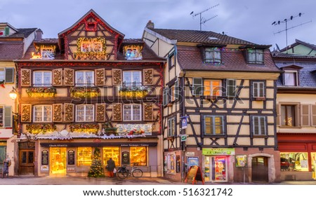 COLMAR,FRANCE-DEC 6: Image of traditional Alsatian half-timbered houses decorated in winter holidays in Colmar,France on December 6,2013.