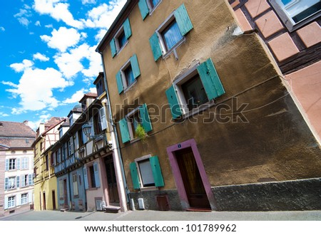 Colmar old town streets and blue sky, Alsace, France - stock photo