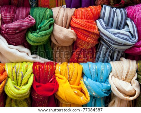 colofful fabrics - stock photo