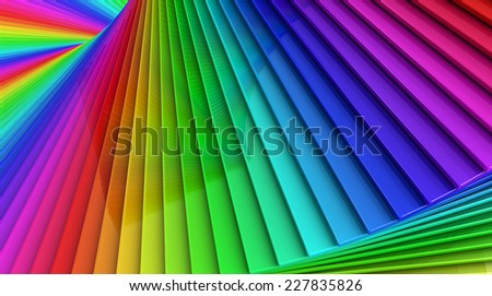 Coloful rainbow abstract background of a spiral stack of glass planes - stock photo