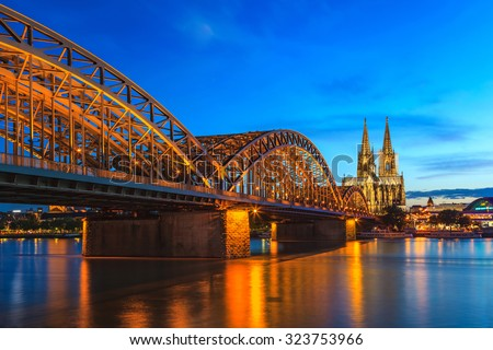 Cologne Cathedral at night, Cologne, Germany - stock photo