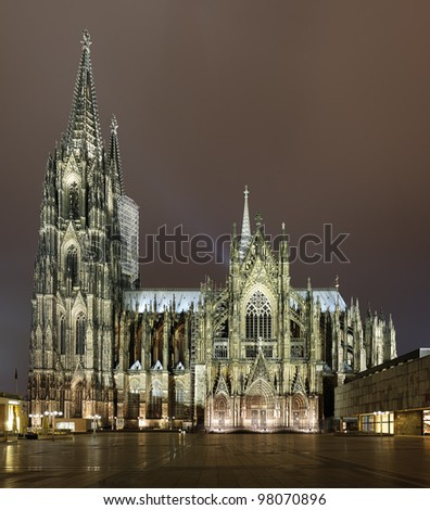Cologne Cathedral in night illumination, Germany - stock photo