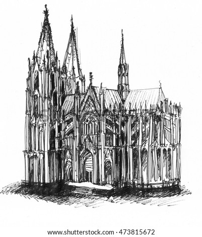 Cologne Cathedral ink sketch