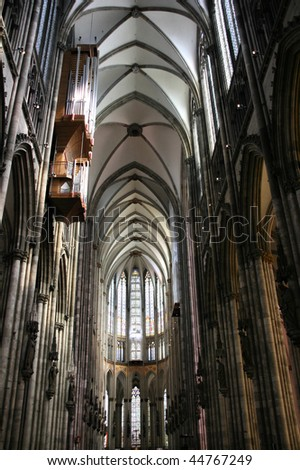 Cologne cathedral of Saint Peter and Mary interior. Famous church. Seat of Archbishop. UNESCO World Heritage Site. - stock photo