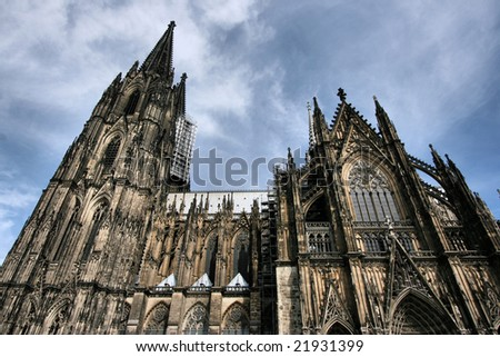 Cologne cathedral of Saint Peter and Mary taken with extremely wide angle lens. Famous church. Seat of Archbishop. UNESCO World Heritage Site. - stock photo
