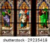 Cologne cathedral stained glass art depicting saints: Isaias, Ieremias, Ezechiel - stock photo