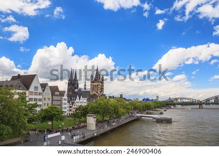 Cologne city skyline and rhine river at Germany - stock photo