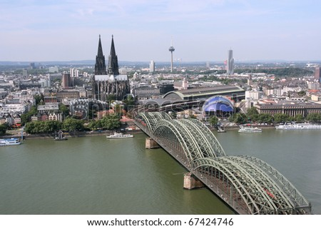 Cologne cityscape with Rhine river and famous cathedral. City in Germany. - stock photo
