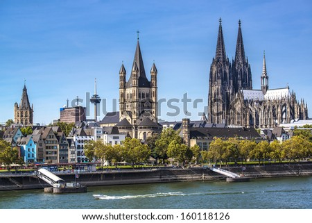 Cologne, Germany aerial view over the Rhine River. - stock photo