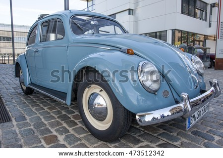 COLOGNE, GERMANY - AUG 7, 2016: Historic Volkswagen Beetle at an exhibition in the city of Cologne, Germany