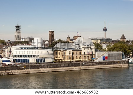 COLOGNE, GERMANY - AUG 7, 2016: The Imhoff chocolate museum in the city of Cologne. North Rhine-Westphalia, Germany