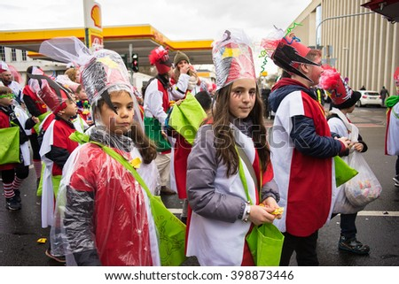 COLOGNE, GERMANY - FEBRUARY 9, 2016: Girls in the parade during the Carnival of Cologne