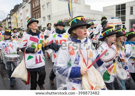 COLOGNE, GERMANY - FEBRUARY 9, 2016: People  in the parade during the Carnival of Cologne