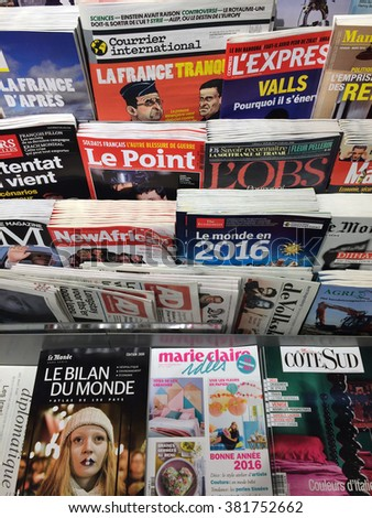Cologne,Germany- February 25,2016: Popular french magazines on display in a store in Cologne,Germany.    - stock photo