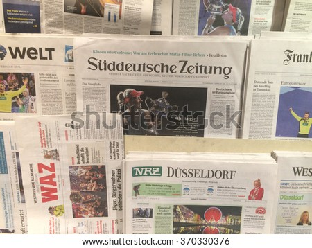Cologne,Germany- February 1,2016: Popular german newspapers on display in a store in Cologne,Germany   - stock photo