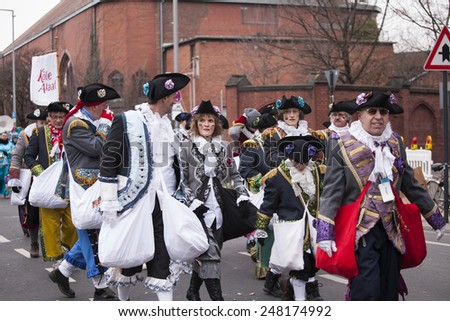 Cologne, Germany- February 11, 2013: Rosenmontag Parade( the rose monday)moves through the city.