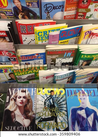 Cologne,Germany- January 5,2013: Popular italian magazines and entertainment media in italian language on display in a store in Cologne,Germany  - stock photo