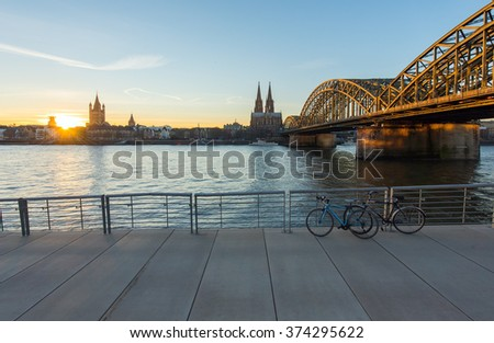 Cologne, Germany over the Rhine River. - stock photo