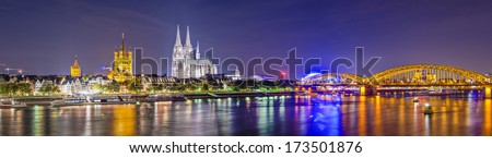 Cologne, Germany panorama over the Rhine River. - stock photo