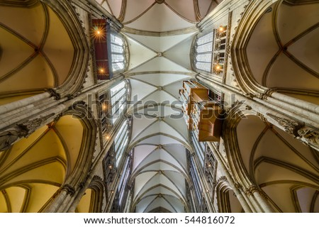 Cologne, Germany - September 17, 2015: Ceiling of the Cologne Cathedral. Roman Catholic cathedral. It is a renowned monument of German Catholicism and Gothic architecture and is a World Heritage Site.
