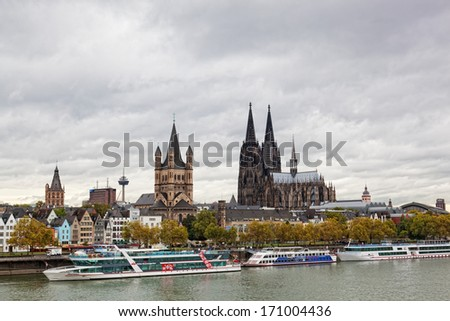 COLOGNE, GERMANY - SEPTEMBER, 25. Rhine Embankment in Cologne, Germany, September 25, 2012. Population of Cologne of 1 017 155 people.