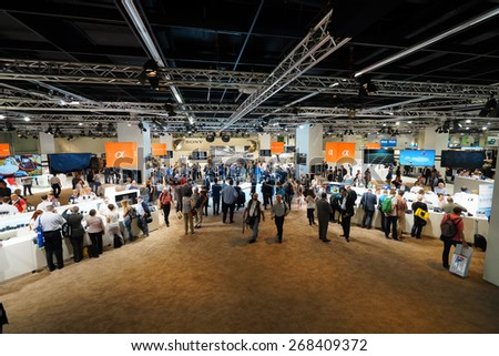 COLOGNE, GERMANY - SEPTEMBER 19, 2014: Sony stand in Photokina Exhibition interior. The Photokina is the world's largest trade fair for the photographic and imaging industries - stock photo
