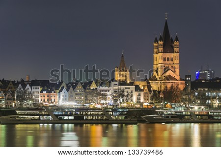 Cologne (Koln) city at night  - Germany