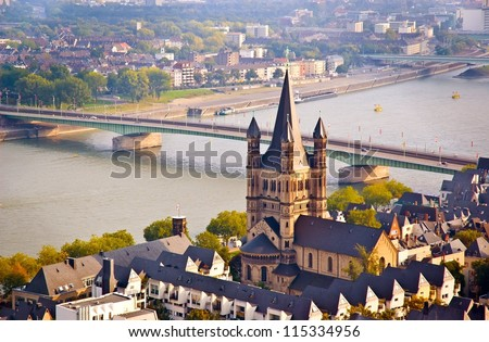 Cologne scene. church and river Rhine. Taken in the Cologne Germany. - stock photo