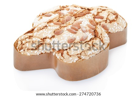 Colomba, italian Easter cake in fom of a dove on white, clipping path included - stock photo