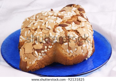 Colomba pasquale (Easter Dove). It is a typical italian eastern cake. It is similar to panettone and has the shape of a dove.
