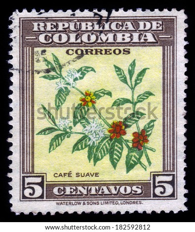 COLOMBIA - CIRCA 1947: A postage stamp printed in Colombia shows the coffee plant, circa 1947 - stock photo