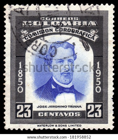 Colombia - CIRCA 1950: A stamp printed in Colombia, shows a portrait of Jose Jeronimo Triana Silva, colombian botanist, circa 1950 - stock photo