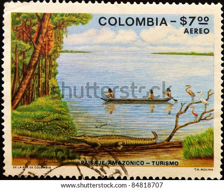 COLOMBIA - CIRCA 1979: A stamp printed in colombia shows Amazonian landscape, circa 1979 - stock photo