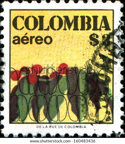 COLOMBIA - CIRCA 1977: A stamp printed in Colombia shows coffee beans, circa 1977  - stock photo