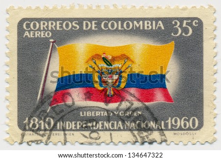 COLOMBIA - CIRCA 1960: A stamp printed in Colombia, shows flag of Colombia, circa 1960 - stock photo