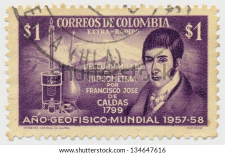 COLOMBIA - CIRCA 1958: A stamp printed in Colombia, shows Francisco Jose de Caldas and Hypsometer, International Geophysical Year, circa 1958 - stock photo