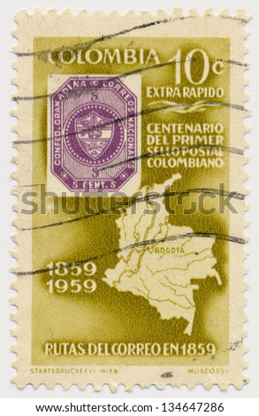 COLOMBIA - CIRCA 1959: A stamp printed in Colombia, shows Map of Colombia and old post stamp, circa 1959 - stock photo