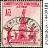 COLOMBIA - CIRCA 1954: A stamp printed in Colombia shows Monument to Simon Bolivar in Punte de Boyaca, circa 1954 - stock photo