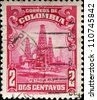 COLOMBIA - CIRCA 1932: A stamp printed in Colombia shows Oil Wells, circa 1932 - stock photo
