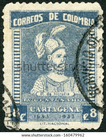 COLOMBIA - CIRCA 1933: A stamp printed in Colombia shows Pedro de Heredia (circa 1505-1554), circa 1933 - stock photo
