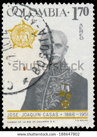 COLOMBIA - CIRCA 1967: A stamp printed in Colombia, shows portrait of Jose Joaquin Casas (1866-1951), educator, diplomat, circa 1967  - stock photo