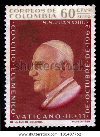 Colombia - CIRCA 1962: A stamp printed in Colombia shows portrait of Pope John XXIII, circa 1962 - stock photo