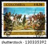 COLOMBIA - CIRCA 1969: a stamp printed in the Colombia shows Army of Liberation Crossing Pisba Pass, by Francisco Antonio Caro, Fight for Independence, circa 1969 - stock photo