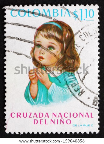 COLOMBIA - CIRCA 1973: a stamp printed in the Colombia shows Child, National Campaign for Children'??s Welfare, circa 1973 - stock photo