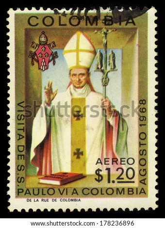 COLOMBIA - CIRCA 1968: a stamp printed in the Colombia shows Pope Paul VI, Visit of Pope Paul VI to Colombia, circa 1968 - stock photo