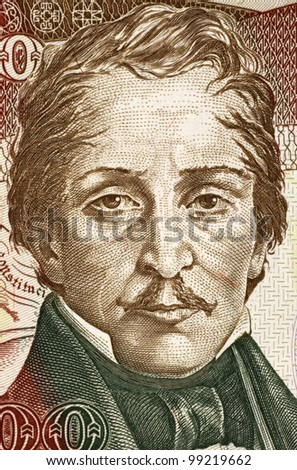 COLOMBIA - CIRCA 1993: Francisco de Paula Santander (1792-1840) on 500 Pesos Oro 1993 Banknote from Colombia. Colombian military and political leader during the war for independence.